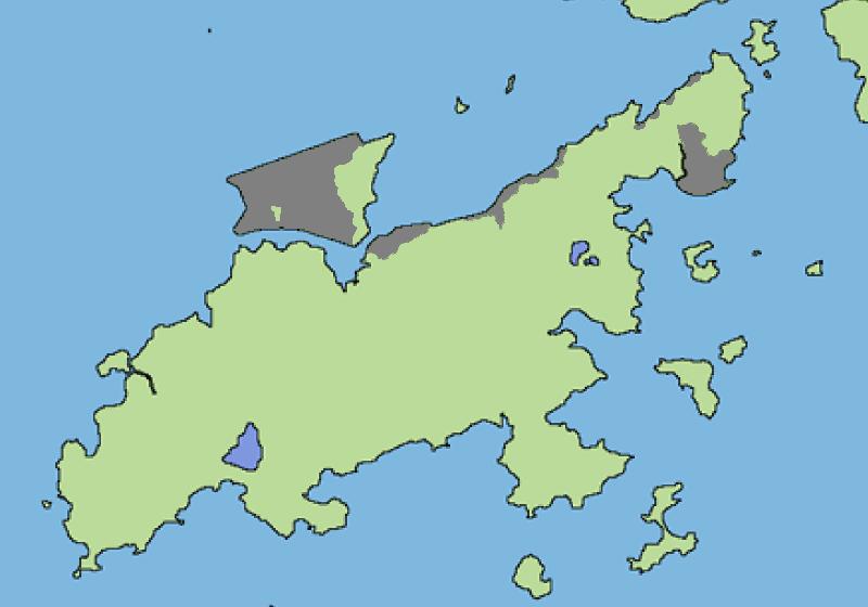 图中灰色位置为大屿山和赤鱲角的填海区域